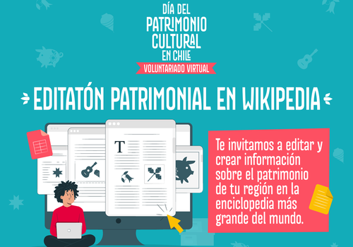"Afiche del evento ""Voluntariado Virtual: Editatón Patrimonial en Wikipedia"""